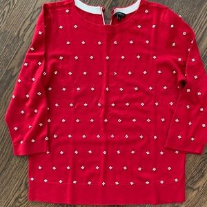 Talbots red seed pearl sweater.  XL
